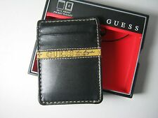 Guess Men's Front Pocket ID Wallet Magnetic Money Clip Black 31GO160001 $42