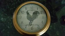 "Three Hands Corp., Bronze Metal Vintage Look Rooster Wall Clock, 15"""