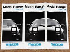 1990 MAZDA PRICE LIST - MX5 RX7 Turbo Cabriolet 323F 626 Coupe 121 B2000 E2200