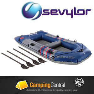 SEVYLOR COLOSSUS 4P PERSON INFLATABLE BOAT WITH OARS BLOW UP
