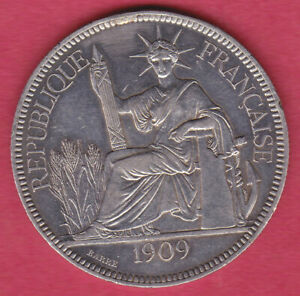 Silver Crown 1909A French Indo-China Silver Piastre #B346