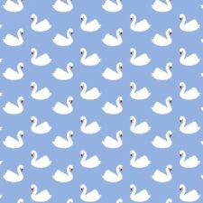 Retro Charm Swan on Blue Fabric Vintage Cute Print Cotton Birds