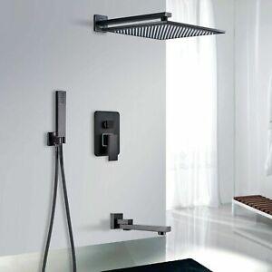 Miscelatore Set doccia da incasso soffione a pioggia doccino miscelatore Nero