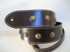 BROWN  LEATHER ANTIQUE BRASS CONCHO GUITAR STRAP