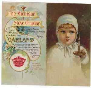 Victorian Trade Card Advertising Garland Stove Co IDEAL MICHIGAN