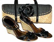 J.CREW Black Straw Shoes 8 and Handbag Set