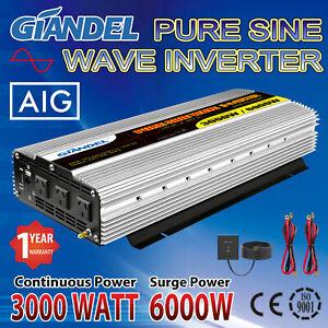 Pure Sine Wave Power Inverter 3000W/6000W 12V/240V+Remote control US Transistor