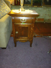 """Antique nightstand Oak 1900's end table brass hardware refinished 19"""" wide"""