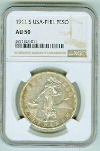 NGC AU50 1911 s Philippines Peso Semi Proof-like