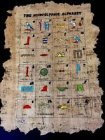 EGYPTIAN HIEROGLYPHIC ALPHABET, HAND PAINTED ON PAPYRUS, SIGNED BY ARTIST