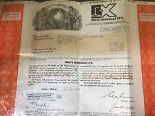 Bre-X Minerals Ltd Stock Certificate 250 Shares Gold Movie Matthew McConaughey