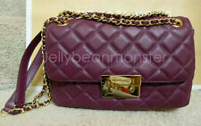 MICHAEL KORS Sloan Quilted Leather Shoulder Flap Bag Purse Gold Chain Plum NEW