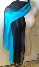 MOSCHINO Italy Authentic Silk Chiffon Tie-Dye Black Blue Scarf/Shawl 63cm x188cm