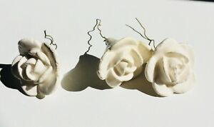 *3* Antique White Porcelain Flowers Roses Chandelier White Capodimonte Beads