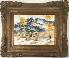 Gorgeous mountainscape with Caribou by listed Texas artist James Ivey Edwards.