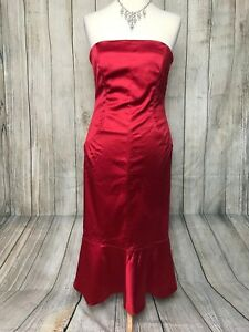 Stunning Red Satin COAST Strapless Pencil Wiggle Dress Size 14 VGC