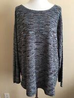 Avenue Women's Sweater Plus Sz 22 24 Blue Blended Thin Knit Pullover Chevron L/S