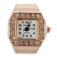 Square Dial Crystal Decor Elastic Finger Ring Watch Copper Tone for U8U6