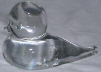 Swedish Lead Crystal Bird Figurine Clear Hand Blown MCM 1960s Art Glass Vtg Mint