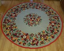 Vintage, Round Tablecloth, 1950's Design, Burlap, Red, Poppies, Fabric Hem