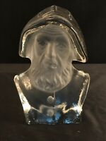 Paperweight Viking Art Glass Crystal Satin Glass Sea Captain #7878