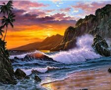 """Sunset Seascape16X20"""" Paint By Number Kit DIY Acrylic Painting on Canvas Unframe"""