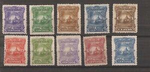 EL SALVADOR 1891  SET OF 10 MH
