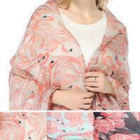 Pink Flamingo Pom Pom Scarf Wrap Shawl Womens Tropical 50TH Birthday Gift Sale