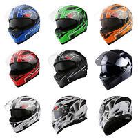 1Storm Motorcycle Full Face Dual Visor Helmet Inner Sun Visor Shield DOT HJK316