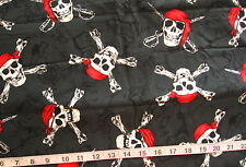 7/8 yd Prewashed Cotton Fabric Black with Jolly Rodgers, Skulls w/Red Bandannas