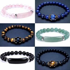 Tiger Eye Natural Stone Beaded Fashion Bracelet Elasticity Women Bangle Jewelry