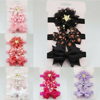 3Pcs Newborn Baby Headband Flower Bows Elastic Hair Band Turban Headwear Gift