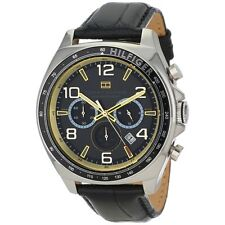 TOMMY HILFIGER CHRONOGRAPH DATE BLACK DIAL LEATHER STRAP MEN'S WATCH 1790936 NEW