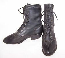 Women's Granny Ankle Boots Soft Black Leather Western Lace up Kilte 7 M