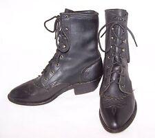 Women's Soft Black Leather Western Cowboy Kilte Lace up Granny Ankle Boots 7 M