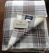 Pendleton Wool Blanket Queen NWT Washable Ivory Brown Tartan Plaid Made in USA