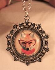 Lovely Fleur de Lis Starburst Wise Sly Fox Wearing Glasses Silvertone Necklace