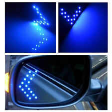 Blue 2pcs Arrow Panel Rear Side Mirror Turn Signal Indicator Light 14 SMD LED