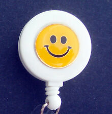 SMILEY FACE Retractable Reel ID Badge Holder/Key Card Chain /Security Happy
