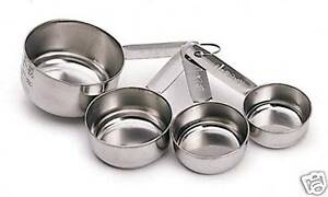 KITCHENCRAFT Measuring Cups Set 4 Stainless Steel. Metric Sizes & Cups. Baking.