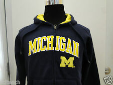 New Youth (All Sizes) Michigan Wolverines Blue Full Zipper Hooded Sweatshirt