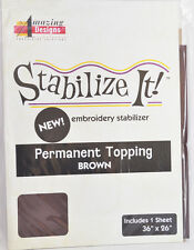 STABALIZE IT EMBROIDERY STABALIZER.  PERMANENT TOPPING BROWN 1YD ADS-PT16