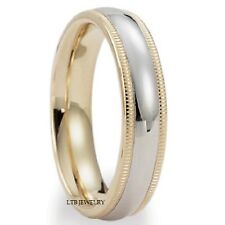MENS & WOMENS SOLID 18K TWO TONE GOLD WEDDING BANDS RINGS SHINY MILGRAIN 5MM