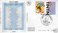 006- FDC ENVELOPPE 1er JOUR SOIE TINTIN TIMBRE VIGNETTE