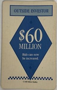 1989 TRUMP THE GAME BOARD GAME PART ONLY, $60 MILLION OUTSIDE INVESTOR CARD