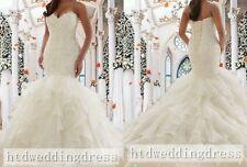 Custom White/Ivory Lace Organza Mermaid Bridal Gown Wedding Dress Plus Size