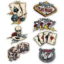 Gambling Sticker Set Ace Skull Car Motorcycle Hot Rat Rod Vintage Retro Laptop