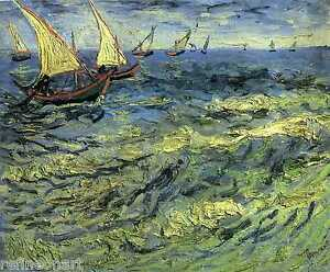 Fishing Boats at Sea by Vincent Van Gogh Giclee Fine Art Canvas Print Textured