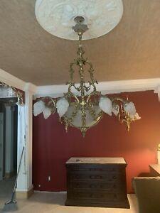 Vintage Hanging Brass Chandelier