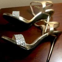 Qupid Women's Gladly-80 Rhinestones/Gold Strap Heels Size 10 M
